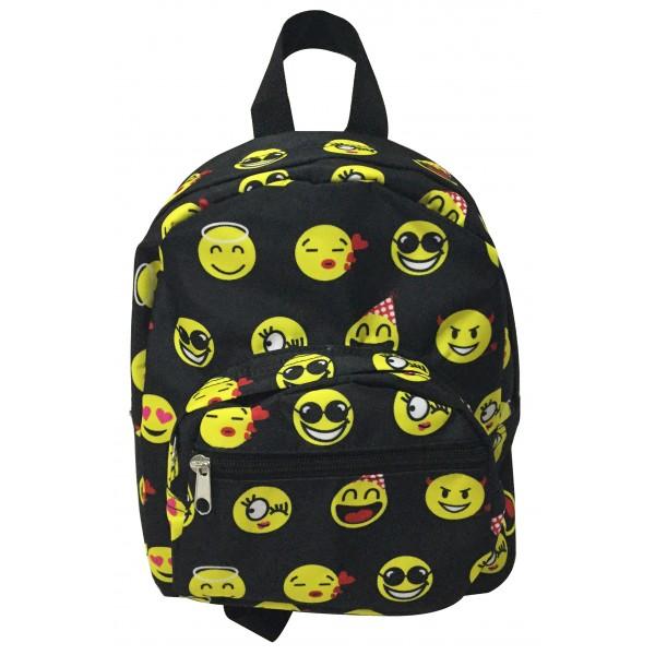 Black Yellow Emoji Print Mini Backpack 700246505df88