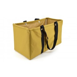 NU-117C Collapsible Wire Frame Solid Caramel Pattern Trunk Organizer market bags,  Large  Rectangular Utility  Bag, Organizer, Laundry Bag.