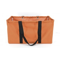 NU-158C Collapsible Wire Frame Solid rouille Pattern Trunk Organizer market bags,  Large  Rectangular Utility  Bag, Organizer, Laundry Bag. orange color