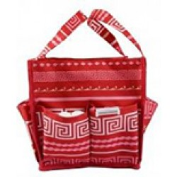 HY009-16-P Greek Key Pattern Caddy Organizer Tote Bag-hot pink