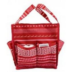 HY009-16-P Greek Key Pattern Caddy Organizer Tote Bag-hot pink