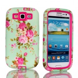 Samsung Galaxy S3 Pink Roses Heavy Duty Hybrid Shock Proof Case-Pink
