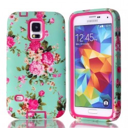 Samsung Galaxy S5 Pink Roses Heavy Duty Hybrid Shock Proof Case-Pink