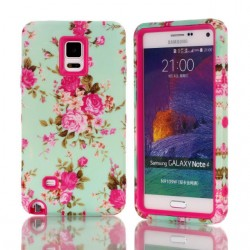 Samsung Galaxy Note 4 Pink Roses Heavy Duty Hybrid Shock Proof Case-Pink
