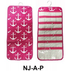NJ-A-P Pink White Background Anchor Pattern Hanging and Folding Jewelry Bag