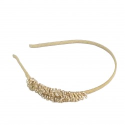 Dress Up Fancy Glass Crystal Headband-Gold