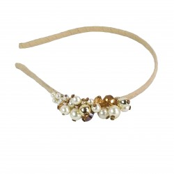 Pearl Treasure Glass Crystal Headband-Gold
