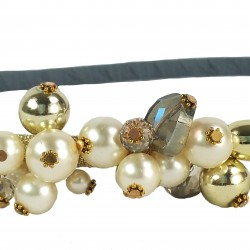 Pearl Treasure Glass Crystal Headband-Grey