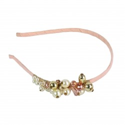 Pearl Treasure Glass Crystal Headband-Pink