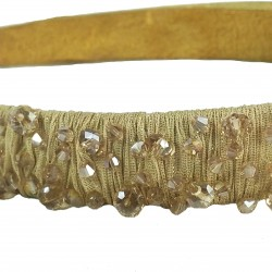 Simple Shine Glass Crystal Headband-Gold