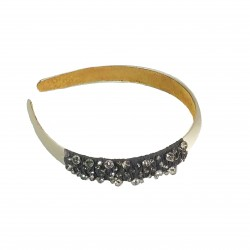 A-24-Gray Simple Shine Glass Crystal Headband-Grey