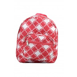 B5-15-P Pink white Quatrefoil Print Mini Backpack