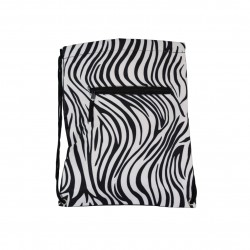 B6-2006 Zebra Print Drawstring Bag-Zebra / black white