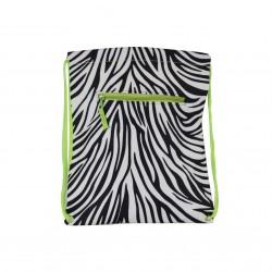 B6-2006-G Zebra Print Drawstring Bag-Zebra / Green