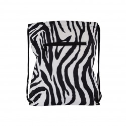 B6-2007 Zebra Mega Print Drawstring Bag-Black / White