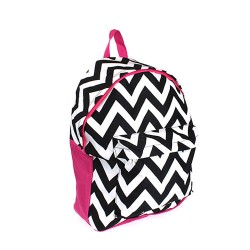 B8-601-BW-P Chevron Pattern Backpack-Black / White / Pink