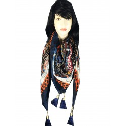 JZ13-Blue Winter Retro Tasseled Italian Design Square Scarf - Blue