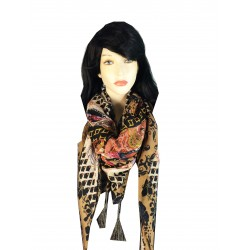 JZ13-BR Winter Retro Tasseled Italian Design Square Scarf - Brown