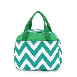 C20-601-G Chevron Pattern Lunch Ball Bag-Green / White