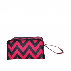 CB10-601-G Green White Chevron Pattern Toiletry Travel Bag
