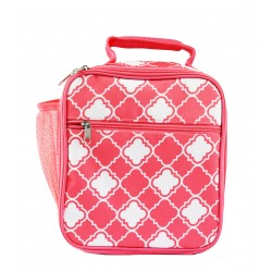 CC17-15-P Superior Pink Small Quatrefoil Pattern Insulated Lunch Tote Bag