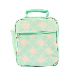 CC17-15-TO Superior Turquoise Small Quatrefoil Pattern Insulated Lunch Tote Bag
