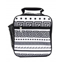 CC17-16-BW Superior Black White Greek Key Pattern Insulated Lunch Tote Bag