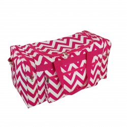 "D22-601-P Chevron 21"" Duffel Bag-Pink / White"
