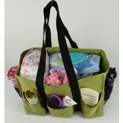 NT19-17-0535tcx Solid Olive Green Patterns 7 pockets tote bags, Utility bags, Diaper bag and Market bag