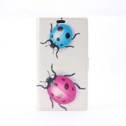 iPhone 5C Folio Patterned Stand PU Leather Card Pocket Wallet Case -Lady Bug