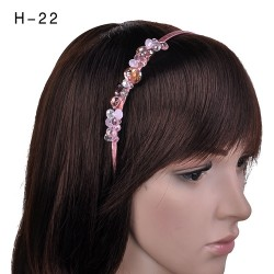 H-22 Elegant Crystal Glass Bead Work Headband -Pink / Pink