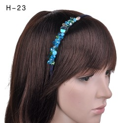 H-23 Elegant Crystal Glass Bead Work Headband -Blue / Green