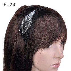 H-34 Embellished Glass Crystal Feather Headband -Black