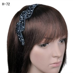 H-72 Elegant Glass Crystal Embellished Twist Headband-Blue