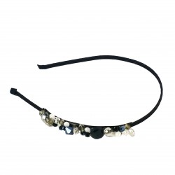 H-25 Elegant Crystal Glass Bead Work Headband -Black / White