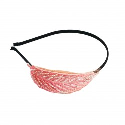 H-33 Embellished Glass Crystal Feather Headband -Pink / Pink