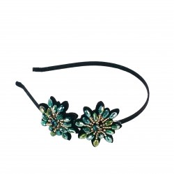 H-78 Fancy Glass Crystal Blossoms Headband-Gold / Green