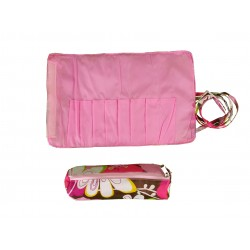 HY008-1004 Big Around Brush Rolling Bag Pink Flower