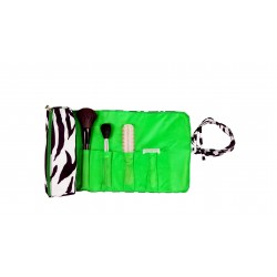 HY008-2007-G 2pc Make Up Brush Roll Zebra Green