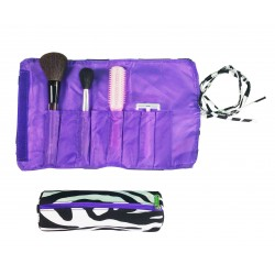 Hy008-2007-PU 2pc Make Up Brush Roll Zebra Purple