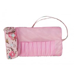 HY008-912 Big Brush Rolling Bag  Pink Flower