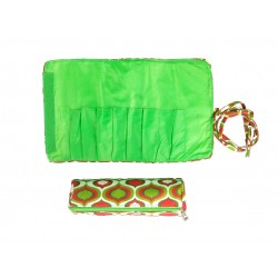 HY008-913 Make up Brush Rolling Bag Green Pink