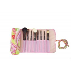 HY008-915 Make up Brush Rolling Bag Pink Flower