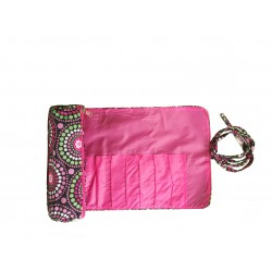 HY008-916 Make up Brush Rolling Bag Pink Circle