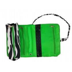 HY011-2007-G Jewelry Roll Mega Zebra Green