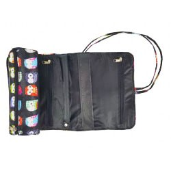 HY011-402 Jewelry Roll Bag Black Owl