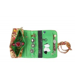 HY011-501-G Jewelry Rolling Bag Owl Green Trim