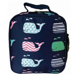 NCC17-27-BL Superior Blue New Whale Pattern Insulated Lunch Tote Bag