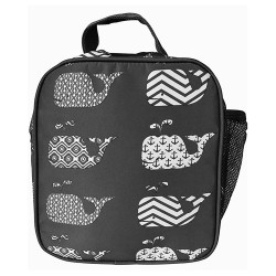 NCC17-27-GREY Superior Grey New Whale Pattern Insulated Lunch Tote Bag