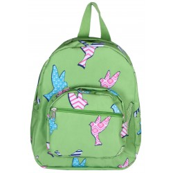 NB5-26-G Green Background Multi Bird Print Mini Backpack